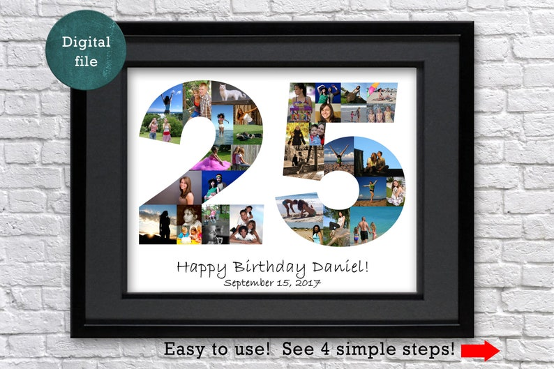 48487fb8cc0 25th anniversary photo collage gift for parents 25th birthday
