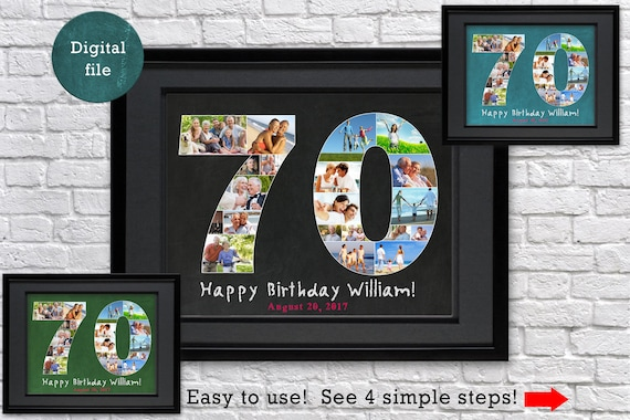 Custom 70th Birthday Gift For Dad Photo Collage
