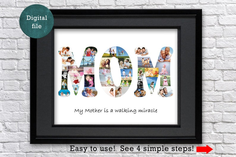 Mom Birthday Gift Personalized Photo Collage For