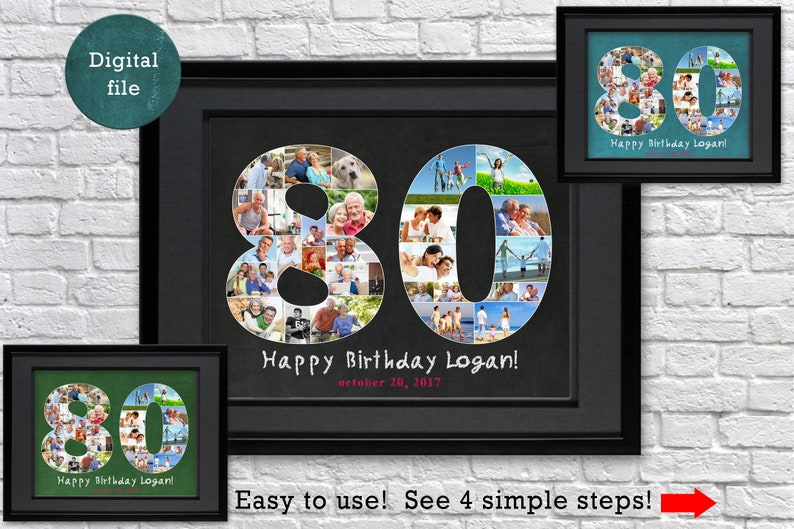 80th Birthday Photo Collage Gift For Him