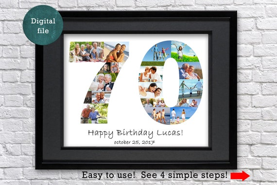 70th Birthday Gift For Mom Photo Collage Grandma