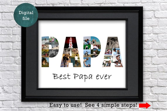 Personalized Papa Photo Collage Gift Custom Gifts Ideas