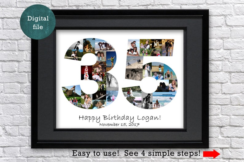 35th Birthday Gift For Him Custom Photo Collage