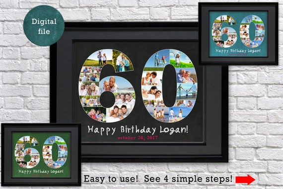 Personalized 60th Birthday Gift Photo Collage