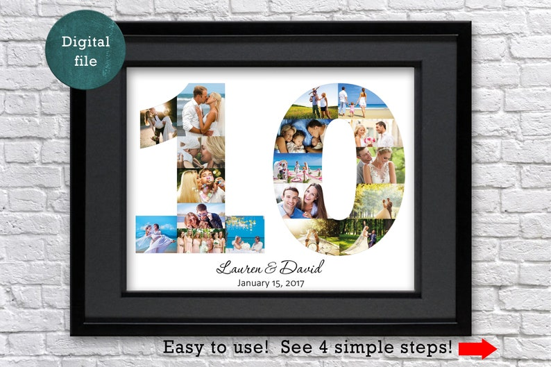 10 Year Anniversary Gift Photo Collage Tin Anniversary Gift Etsy