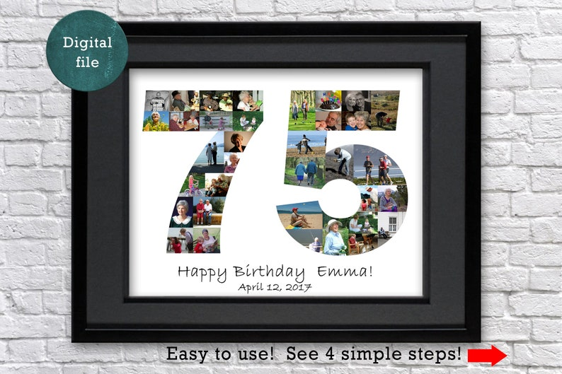 75th Birthday Gift For Mom Personalized Photo Collage