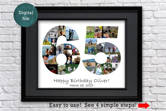 Custom Photo Collage Gift 65th Birthday For Man