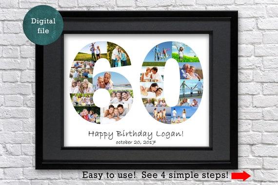 60 Geburtstag Geschenk Foto Collage 60 Jahrestag Geschenk 60 Etsy
