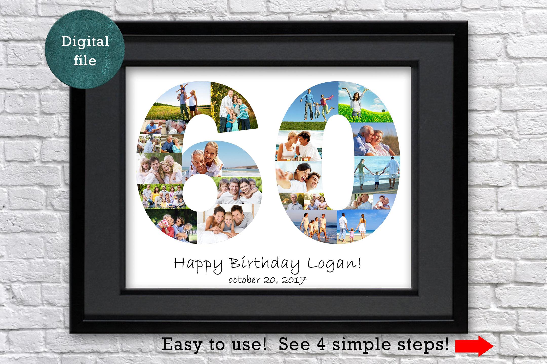 60 geburtstag geschenk foto collage 60 jahrestag geschenk 60 etsy. Black Bedroom Furniture Sets. Home Design Ideas