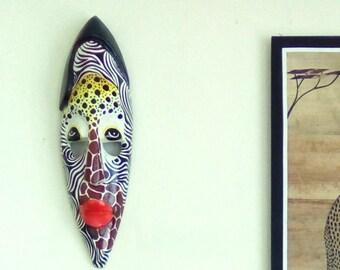 Genuine Handcarved 30cm Wooden Giraffe Wall Mask Face Africa Tribal Mens Gift
