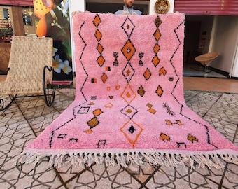 Genuine pink Moroccan Beni Ourain rug Carpet Soft Shag Artistic Oriental checker moroccan rug
