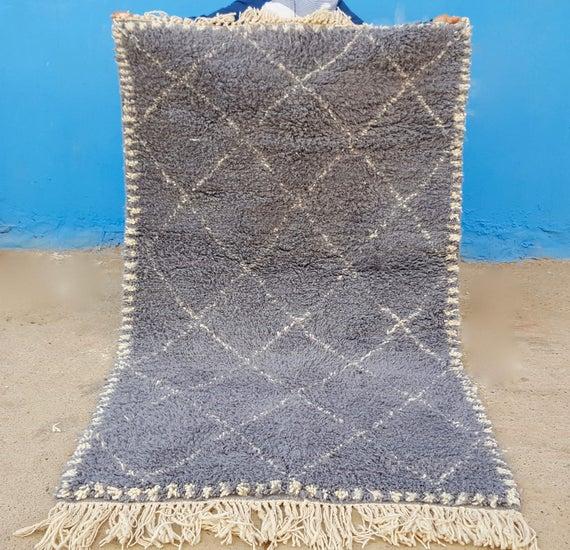 Beni Ourain Rug Handmade Moroccan Rug 100% Wool Rug 73 / 45