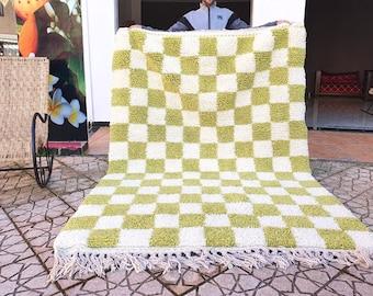 checkered green Rug Wool Hand Woven Genuine Moroccan Beni Ourain Carpet Soft Shag Artistic Oriental checker moroccan rug