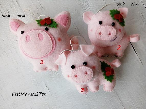 Felt Pig Christmas Decoration Christmas Felt Ornament Pig | Etsy