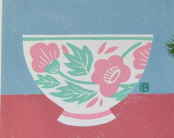 Linocut: Bowl with pink flowers