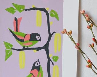 Linocut: Birds in spring