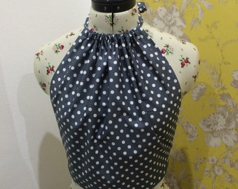 Polka dot backless halter neck top