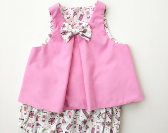 Pink Pamper Split Back Bow Top with Matching Bloomers