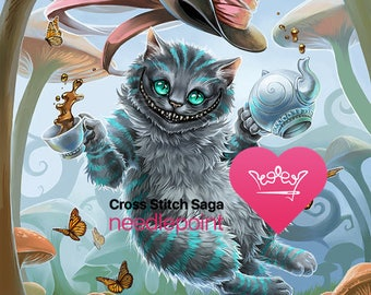 Alice in Wonderland cross stitch - Cheshire cat cross stitch pattern - Cross stitch chart - Disney cross stitch - Printable PDF - Download