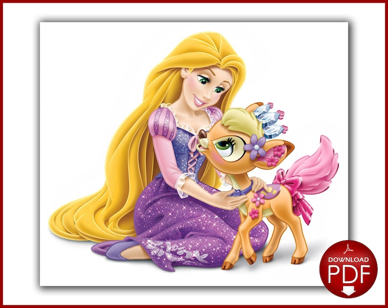 Rapunzel cross stitch pattern - Cross stitch Disney princess - Cross stitch  deer - Printable PDF Download - Cross stitch saga file
