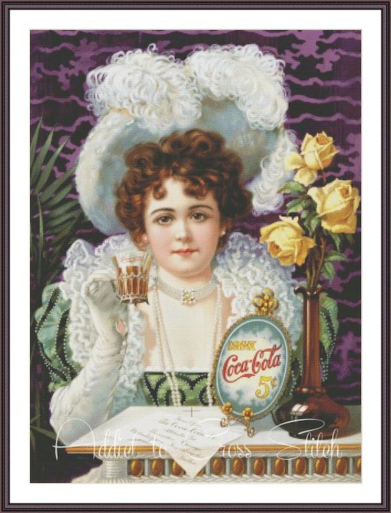 Vintage Poster Coca-Cola Ad cross stitch pattern - Cross stitch woman -  Large counted cross stitch chart - Vintage cross stitch design - PDF