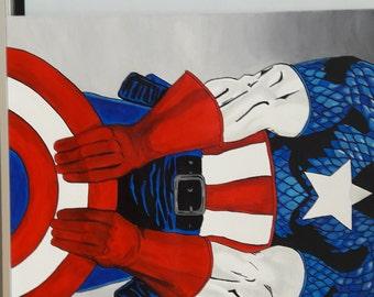 Marvel Comic Superhero Captain America original acrylic painting