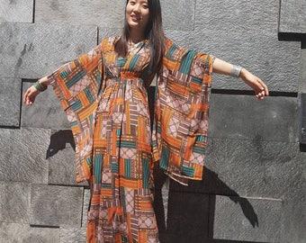Silky Poncho with kimono sleeve, caftan kimono sleeve