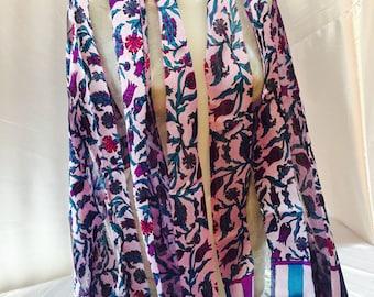 Silk-stamped scarf. Multicolor scarf. Flower scarf. Summer Shawl.