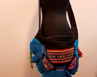 Large Hmong ethnic bag, tribal bag with embroidery