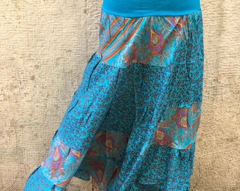 Ruffled Crepe long skirt