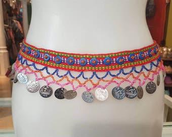 Tribal belt, ethnic belt, coin belt, boho belt