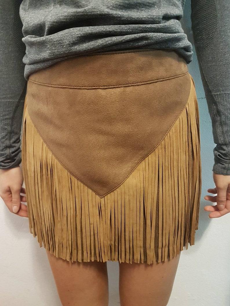 Fabric skirt with leather fringe