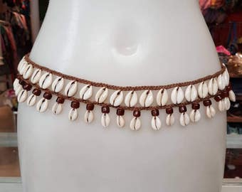 Macrame belt with shells, hippie belt, Boho belt, retro belt