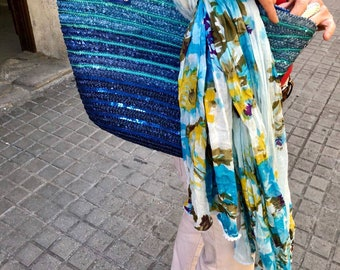 Cotton-stamped scarf. Multicolor scarf. Flower scarf. Summer Shawl.