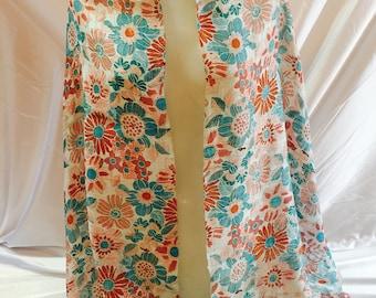 Printed silk scarf. Multicolor scarf. Cloth flowers. Shawl of flowers.