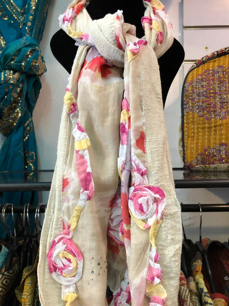 Cotton Scarf with stamped appliques