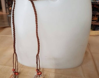 Braided Leather strap with feathers