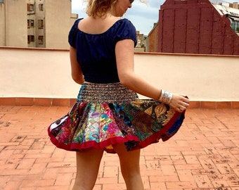 Multicolored rubber printed cotton skirt summer