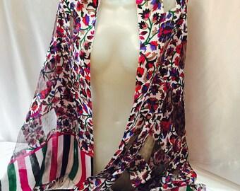 Silk-stamped scarf. Multicolor scarf. Flower scarf. Summer Shawl