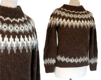 e9dd4c922b6 Alafoss Icewool Sweater Nordic Fair Isle Thick Hand Knit Iceland Wool  Vintage, Size S