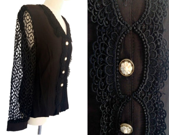 Vintage 80's, Black Rayon Blouse with Border Lace,