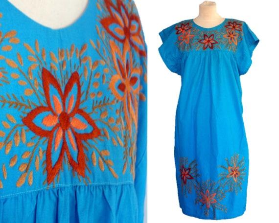 Vintage 60s Embroidered Floral Dress, Cotton Hippy