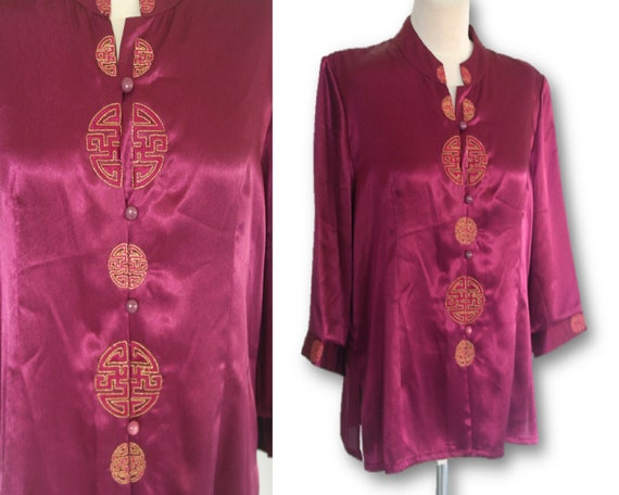 Neon Purple Blous, Chinese Style Purple Satin, Asi