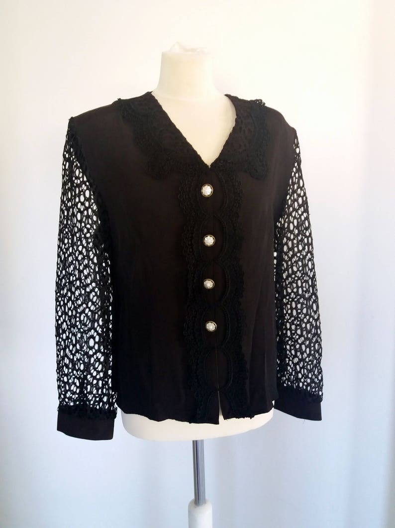 Vintage 80/'s Black Shirt with Shoulder Pads Button Down Shirt Black Rayon Blouse with Border Lace Long Lace Sleeve