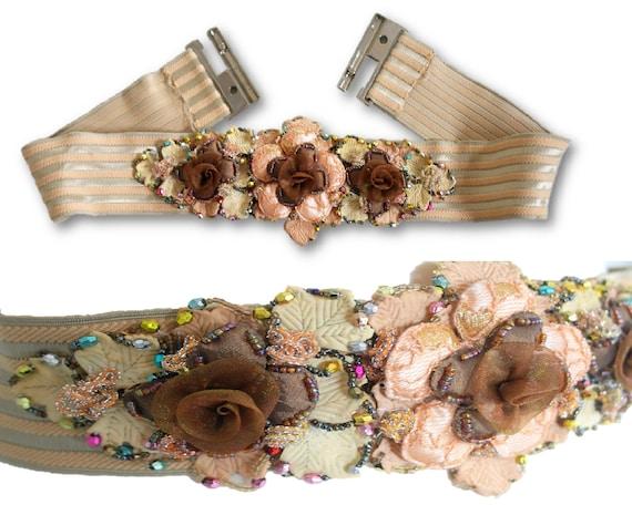 Handmade Floral Waist Belt, Fairy Elastic Belt Wa… - image 1