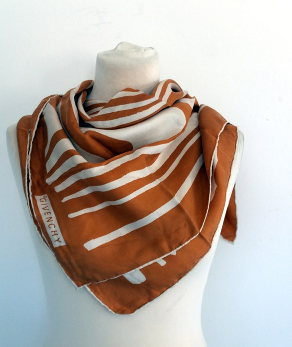 GIVENCHY Silk Scarf, Brown and White Scarf, Silk S