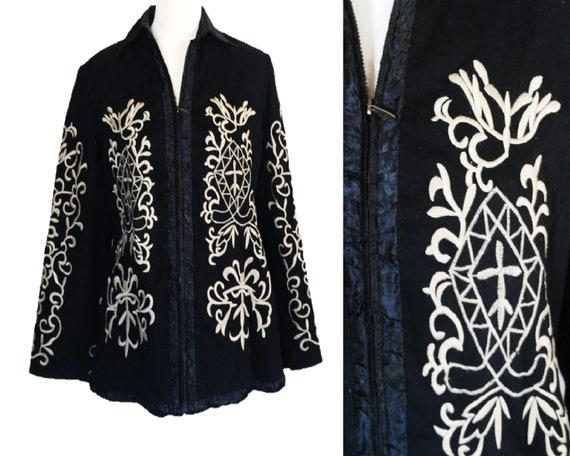 Embroidered Jacket, Black Embroidered Coat, Black