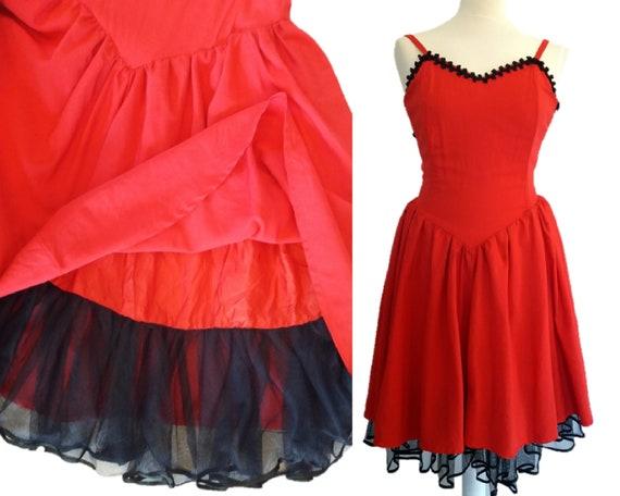 Vintage 80er Jahre Korsett Kleid Rotes Kleid Etsy