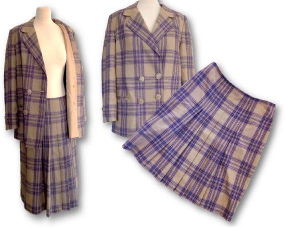 Vintage Woman's Skirt Suit, 80's  Plaid Suit, Skir