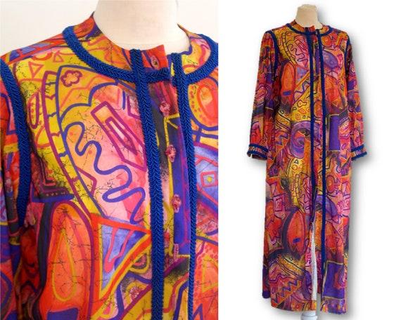 Vintage 70's, Psychedelic Maxi Dress, Vintage Nigh
